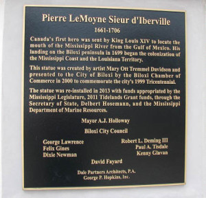 Plaque dedicating d'Iberville statue in Biloxi, Mississippi
