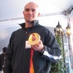 Duff Gibson with his gold medal for skeleton racing