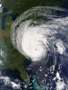 Satellite photo from NASA of Hurricane Isabel hitting East Coast of USA