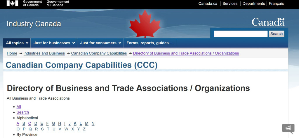 Screenshot of Industry Canada website landing page for Directory of Business and Trade Associations