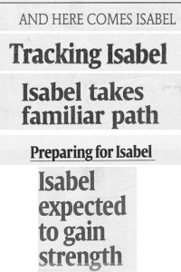 Headlines from Hurricane Isabel's approach to USA