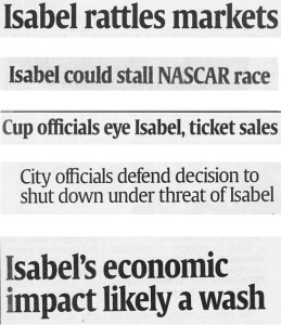 Headlines on Hurricane Isabel's landfall.