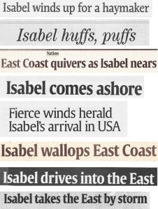 Headlines from Hurricane Isabel's landing on east coast of USA.