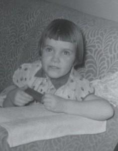 Isabel Gibson at 4 1/2, Christmas 1956.