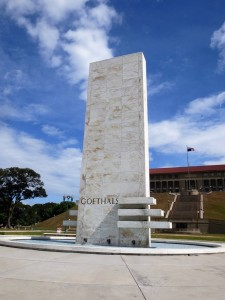 Marble pillar to Goethals in Panama City.
