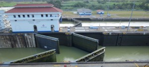 Gates of Mriaflores Locks, half open.