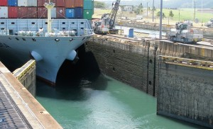Cargo ship moving through Gatun Locks.