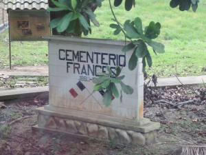 Marker for memorial to French who died on Panama Canal.