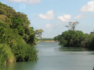 River in jungle; site of French canal.