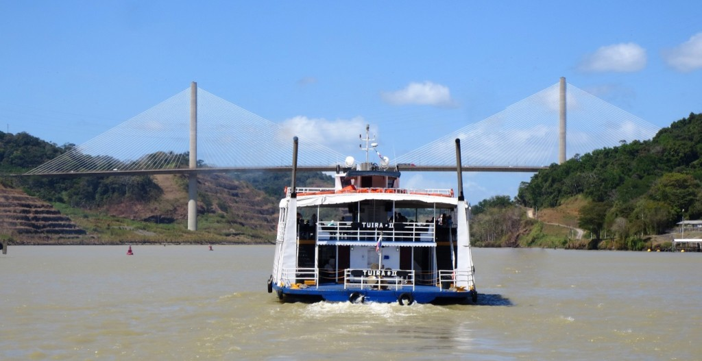Cable-stayed bridge over Panama Canal.