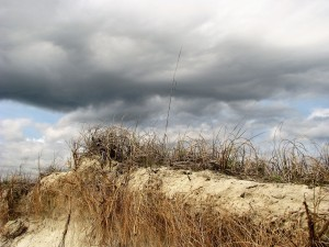 Sand dune with dark sky behind.