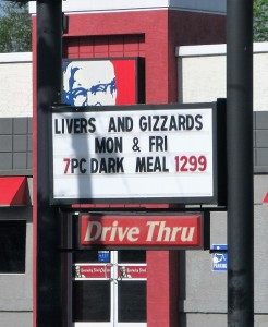 sign - livers and gizzards