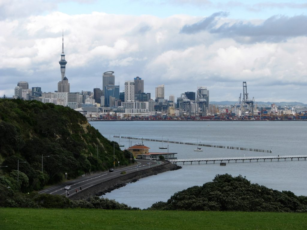 Auckland skyline in distance, across bay.