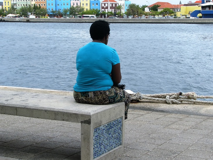 Woman in blue shirt in foreground; blue houses in background.