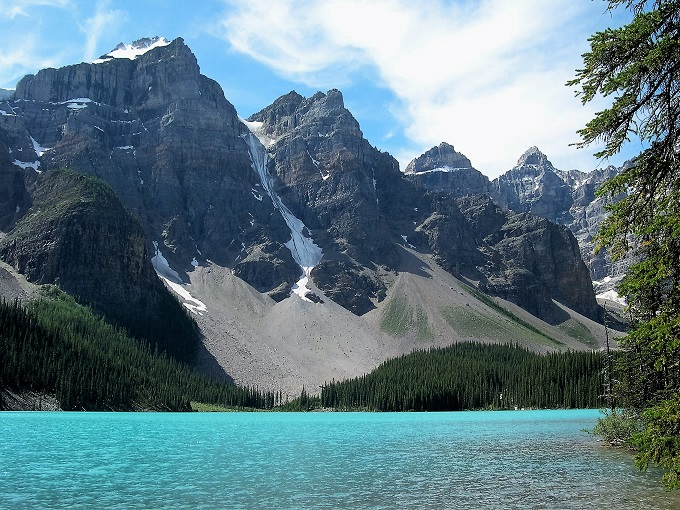 Glacier-blue water with craggy peaks and talus slopes as backdrop.