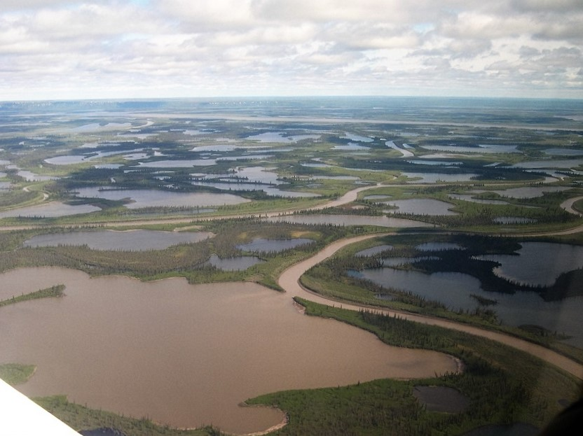 Intertwined rivers and ponds on Mackenzie Delta, seen from air