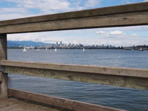 City skyline seen through dock railings