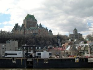 View of Chateau Frontenac and Old Quebec City from the water.