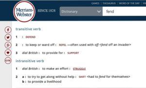 "Screenshot of MW Dictionary defintion of ""fend."""