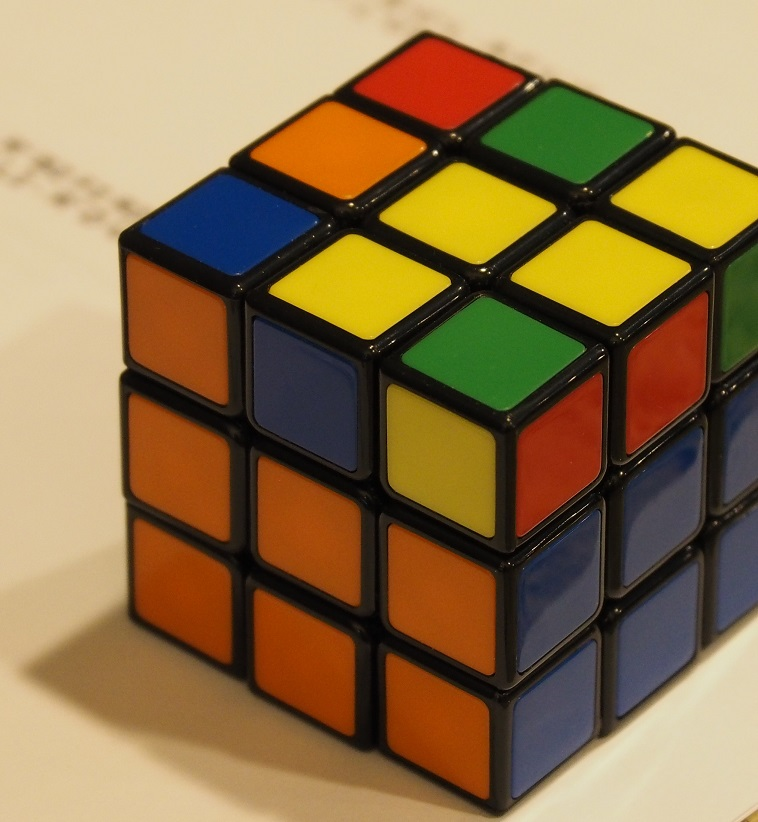 Two-thirds solved Rubik's Cube.