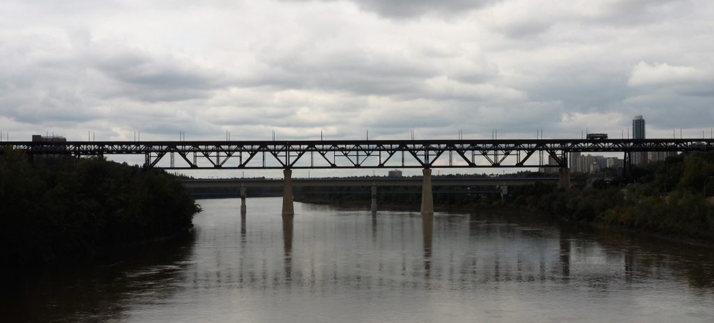 Full span of trestle bridge across North Saskatchewan River.