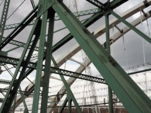 Support trusses and arches for old and new Walterdale Bridgeslevel bridges.