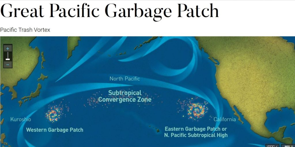 Drawing of garbage patches in Pacific Ocean