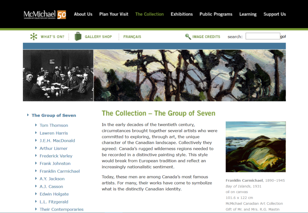 Screenshot of McMichael Collection page on Group of Seven