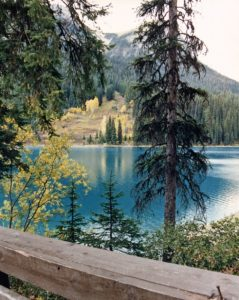 View of glacier-blue lake with hill covered in spruce trees in background