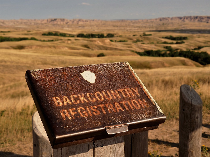 Backcountry hiking registration site inthe Dakota Badalnds.