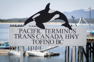 Terminus sign for TC Highway at Tofino BC