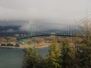 Sunlit Lion's Gate Bridge to North Vancouver.