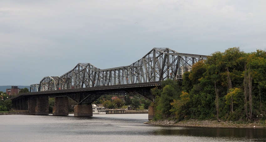 Ground-level view of Alexandra Bridge from Ottawa side.