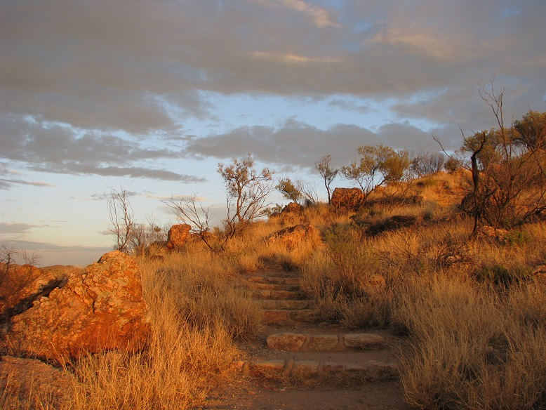 War memorial hill in Alice Springs, in dawn light