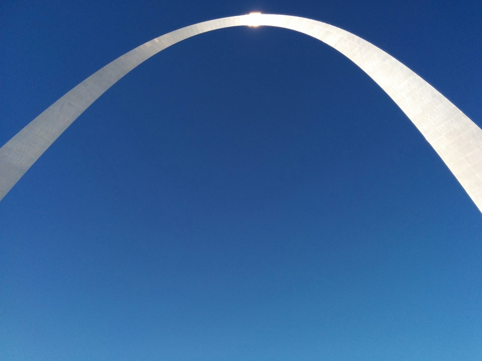 Overhead view of top of St. Louis iconic arch