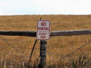 No Hunting sign that adds: Don't Ask