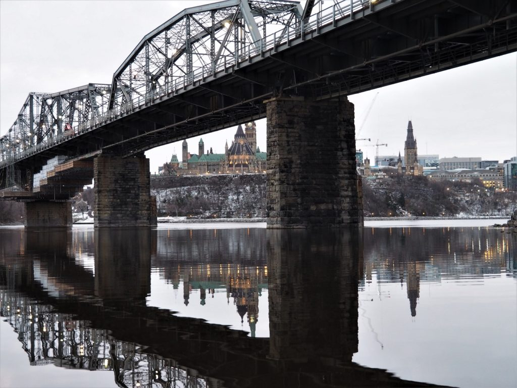 Early morning view of Alexandra Bridge, Parliament Hill in background