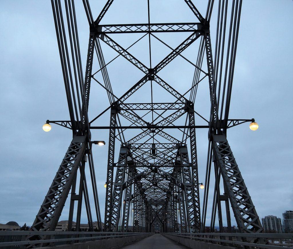 Overhead view of bridge trusses