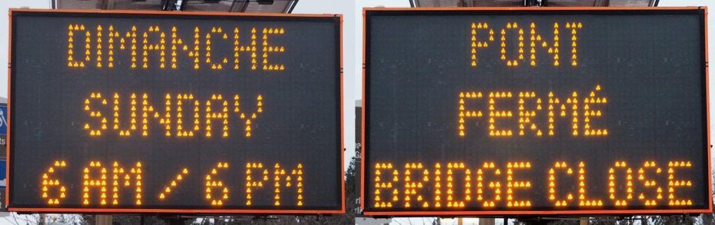 Traffic sign indicating bridge closure.