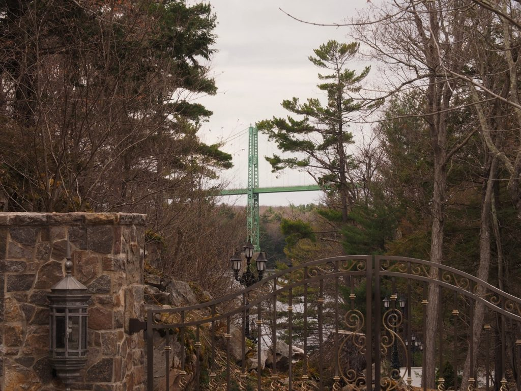 Glimpse of Thousand Islands Bridge through trees