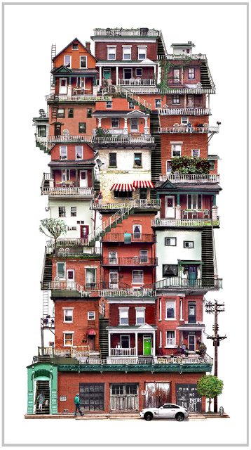 Facade view of collage of Ottawa houses.