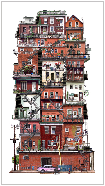 Collage of ottawa houses made to look like a highrise.