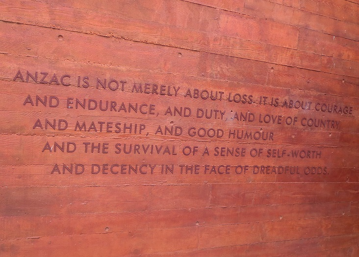 Concluding text at ANZAC Memorial that sums up its meaning for Australians and New Zealanders.