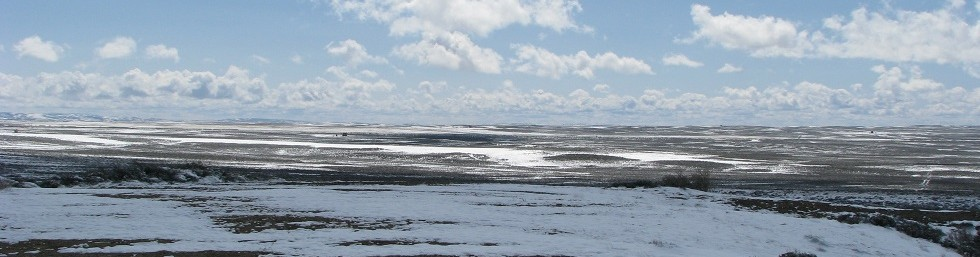 Featureless snow-scattered plain, AKA Wyoming's Great Basin Valley