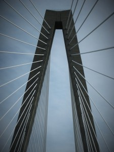 Looking straight up at cables on bridge over Cooper River.
