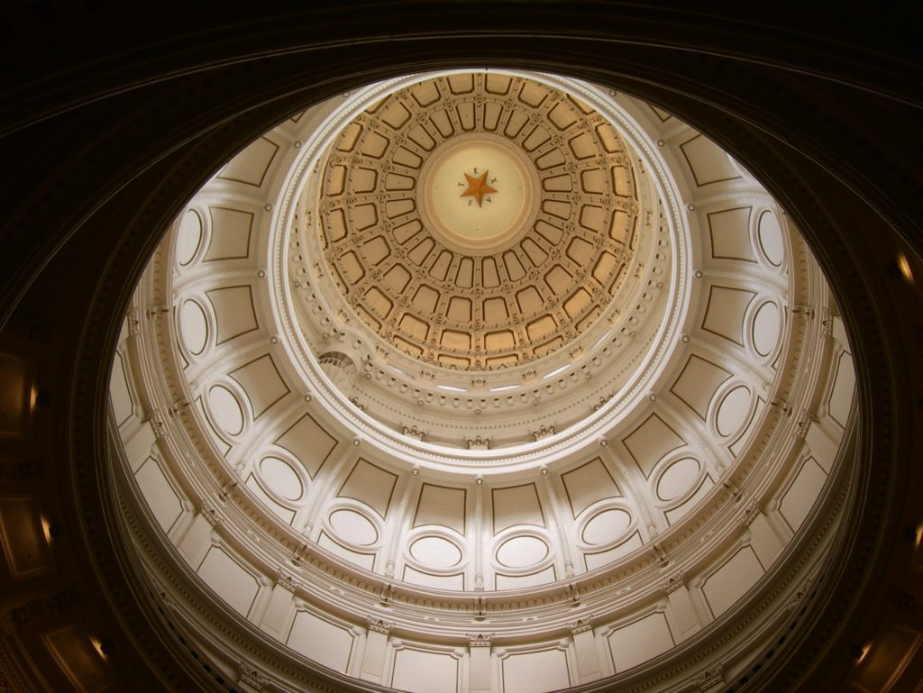 Overhead shot of cupola in State House, Austin.