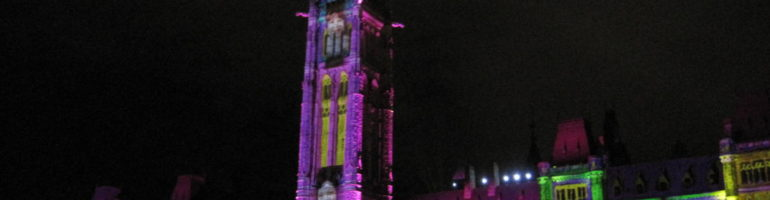 Canada's Parliament Hill lit up for the summer sound and light show.