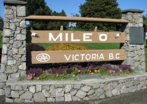 Mile 0 sign for Trans Canada Highway in Victoria BC