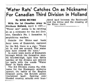 Newspaper clipping about Canadian Third Division in Holland