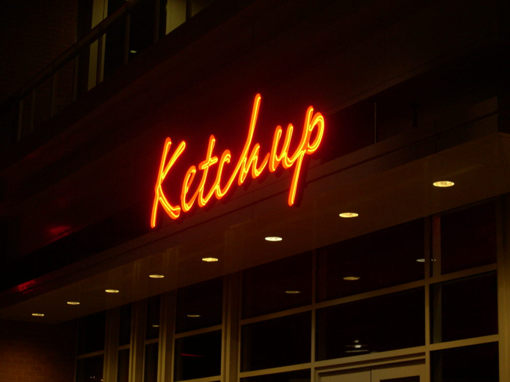 Red neon sign for Ketchup restaurant